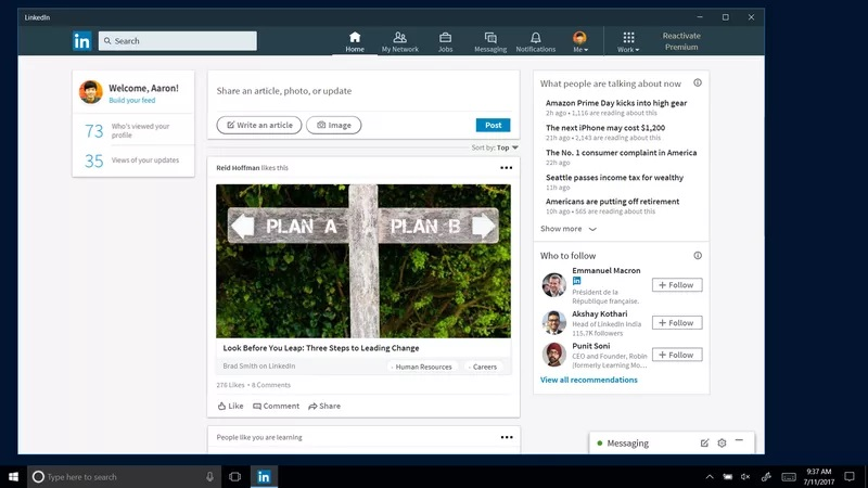 linkedin windows 10
