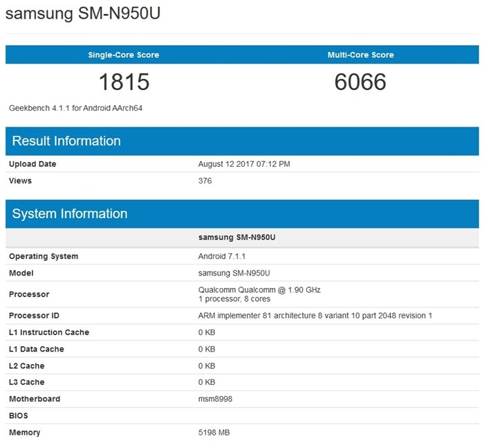 teste de benchmark galaxy note 8
