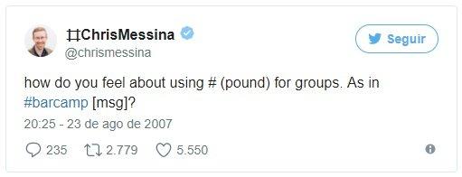ideia original do hashtag