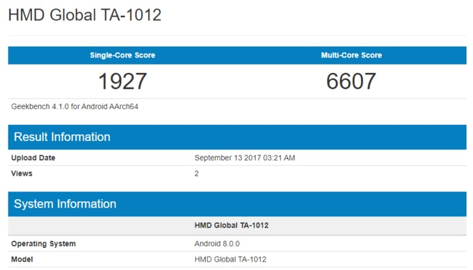 benchmark do nokia 8 com oreo