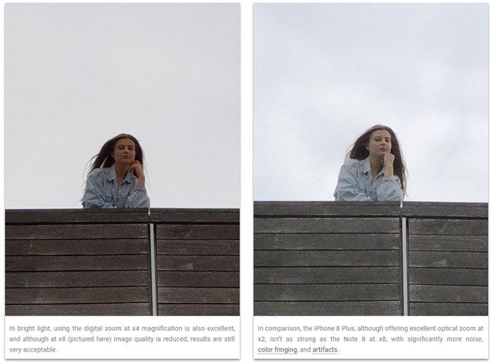 comparação fotos note 8