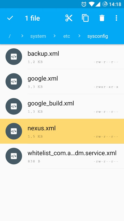 google nexus xml