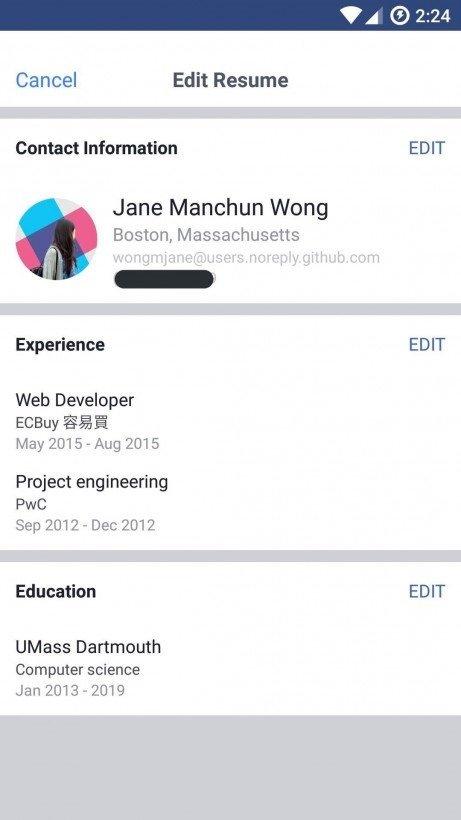funcionalidade em testes no facebook sobre emprego