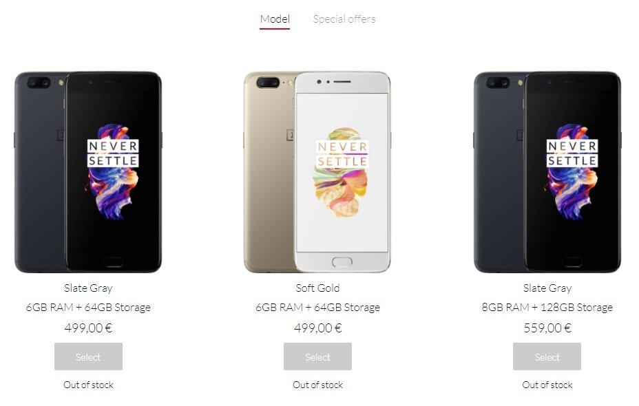OnePlus 5 fora de stock