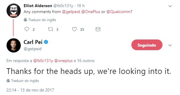 resposta no twitter do ceo da oneplus