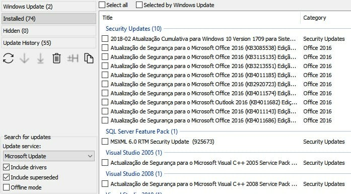 atualizações instaladas sistema windows 10