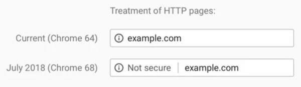 chrome alerta não seguro site http