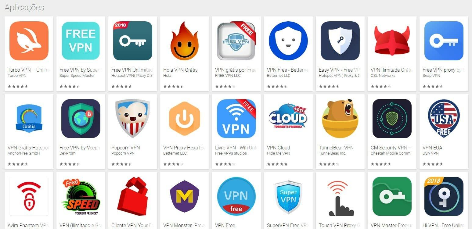 lista aplicações vpn gratuitas play store