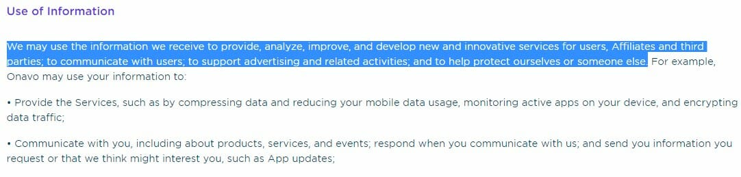 política de privacidade uso dados