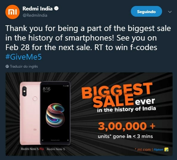tweet xiaomi redmi note 5 vendas