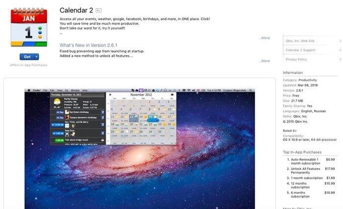 calendar 2 macos