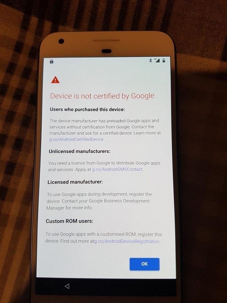 smartphone não certificado google
