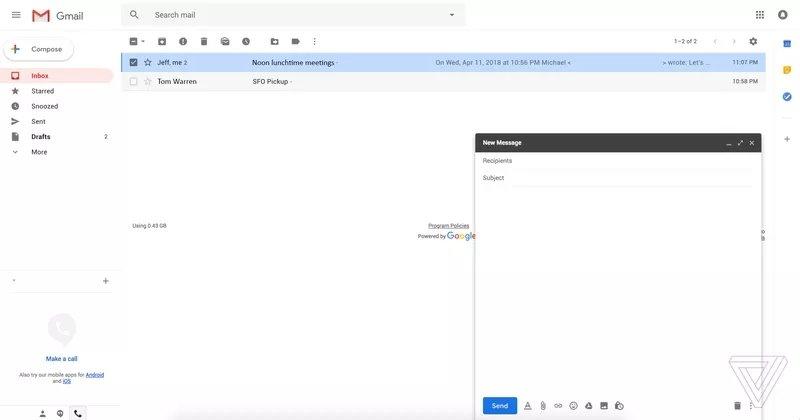gmail escrita novo design
