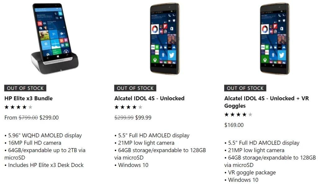 stock unidades smartphoines windows microsoft