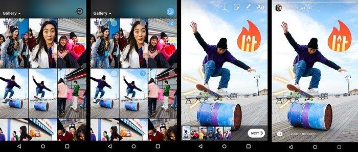 instagram stories múltiplas imagens